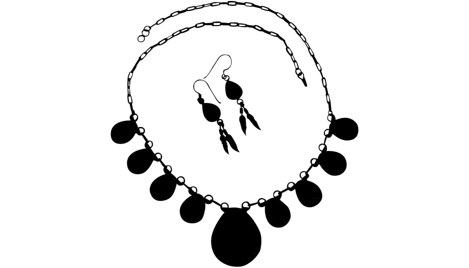 Black Necklace Earrings Png Transparent Background