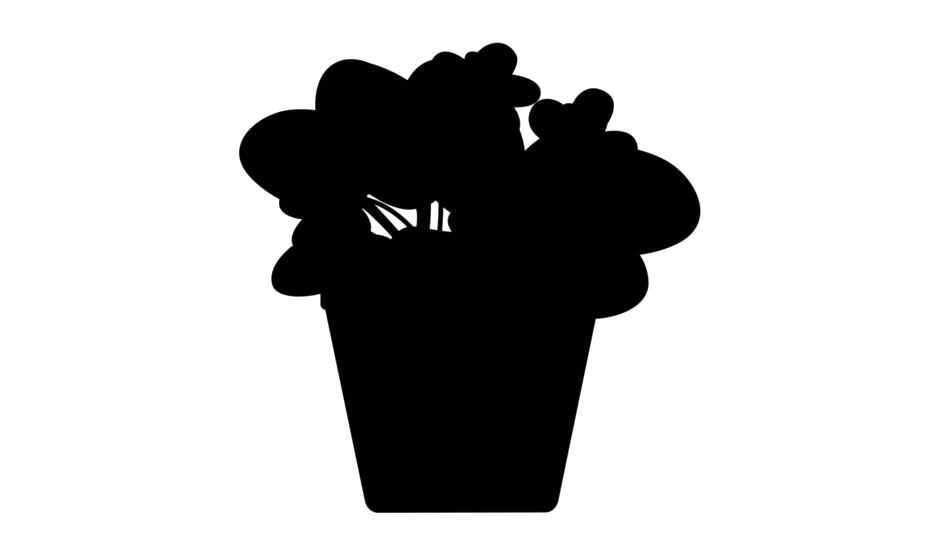 Flower Pot Png Silhouette, Transparent  Png Image