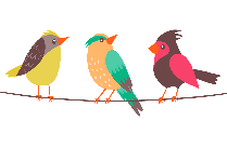 Colorful Birds On A Wire Png