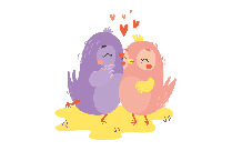 Twin Love Birds PNG Vector